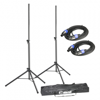 Adam Hall Stands SPS 023 SET 2 - Set of 2 Speaker Stands with Bag and Standard Speaker Cables